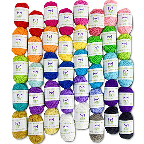 Mira Handcrafts 40 Assorted Colors Acrylic Yarn Skeins with 7 E-Books - Perfect for Any Knitting and Crochet Mini Project ()
