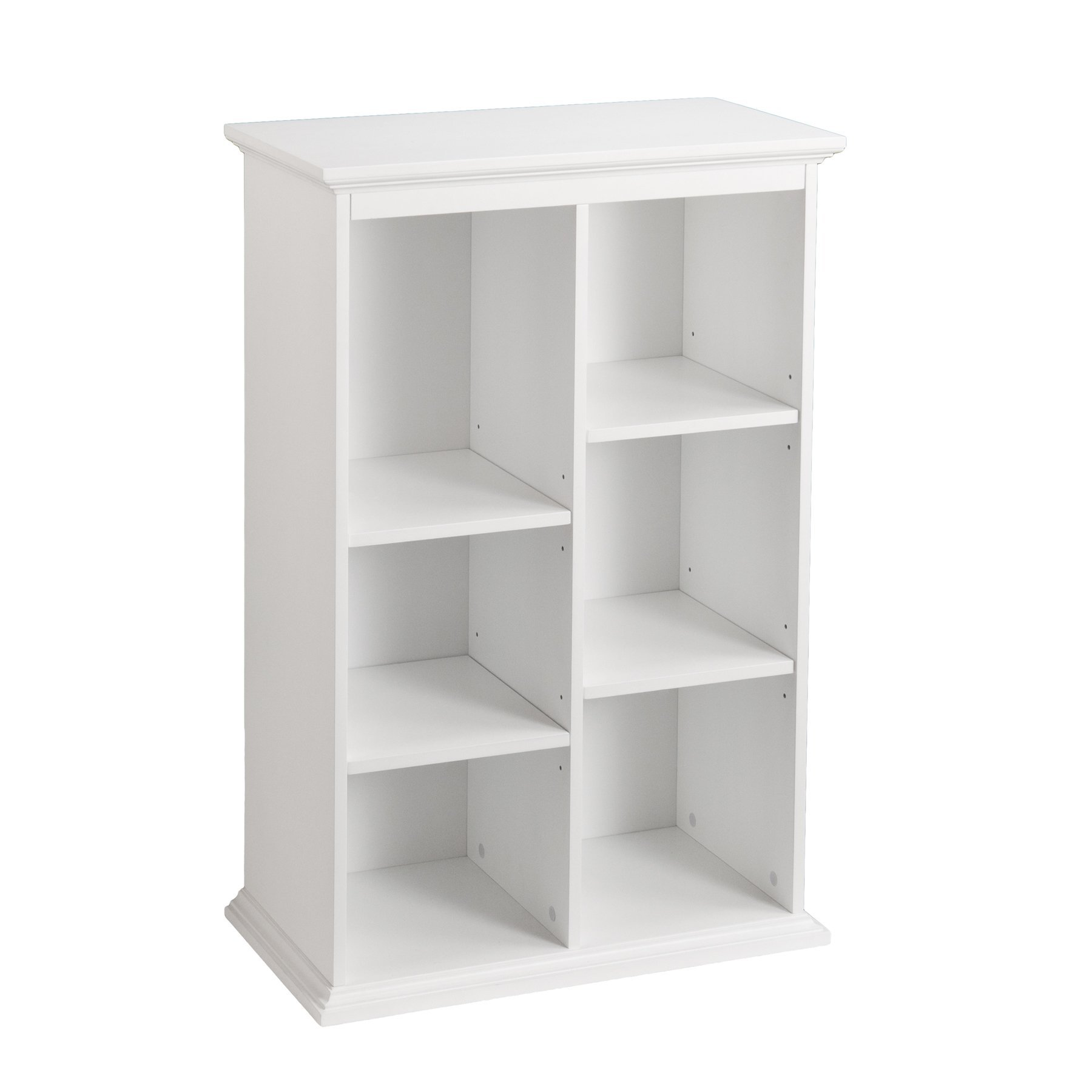 Modern, Transitional Manuel 45-Inch White Display Shelf with Four (4) Adjustable and Two (2) Fixed Shelves (OS3653HZ). Asymmetrical Design Bookshelf. Assembly Required