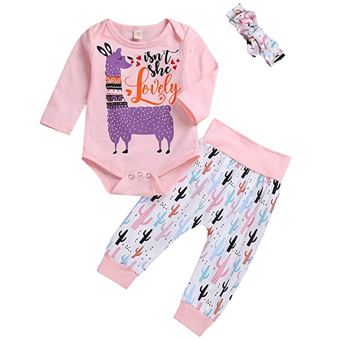 bfe0aeda158 MAMOWEAR Newborn Baby Girls Outfit Set Llama Long Sleeve Romper + Cactus  Pants Headband Clothes (