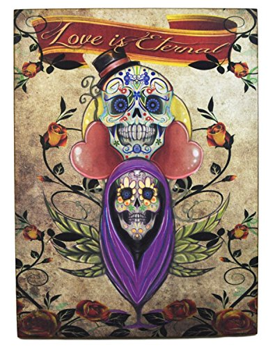 Colorful Mexican Day of the Dead Art Plaque: Love Is Eternal 10 x 13.5 Inches