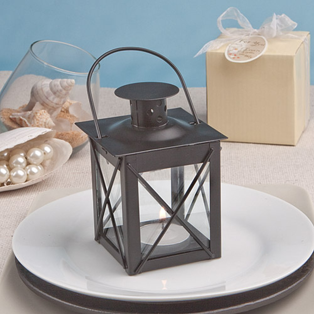 Luminous Black Mini-Lantern Tea Light Holder - Baby Shower Gifts & Wedding Favors (Set of 48)