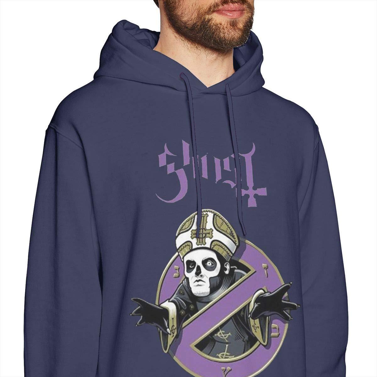Mens Hooded Sweatshirt Ghost with The Bands Logo Original Retro Literary Design Navy
