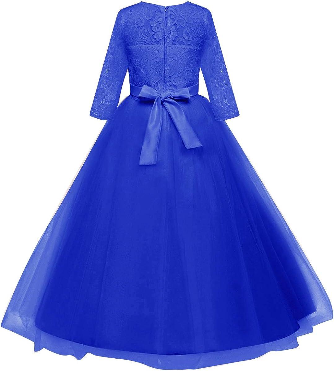 Vestido de ni/ña de flores para la boda Princesa Largo Gala Encaje De Ceremonia Vestidos de Dama De Honor Fiesta Tul Bowknot Comuni/ón Cumplea/ños Bola Pageant Paseo Baile Maxi C/óctel Fotograf/ía Vestir