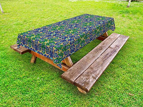 Ambesonne Arabian Outdoor Tablecloth, Ornate Arabic Ethnic Mosaic Oriental Eastern Patterns with Damask Tribal Art, Decorative Washable Picnic Table Cloth, 58 X 84 inches, Yellow Green Teal by Ambesonne