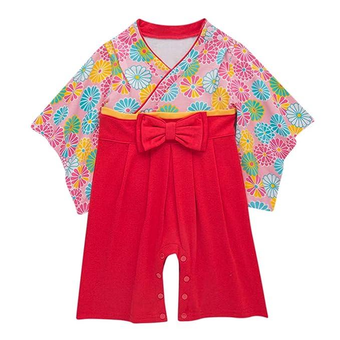 Ropa Bebé Niña Niño Verano Ropa Japonesa 1Pcs Camiseta de Manga Largo Arco de Flores Kimono