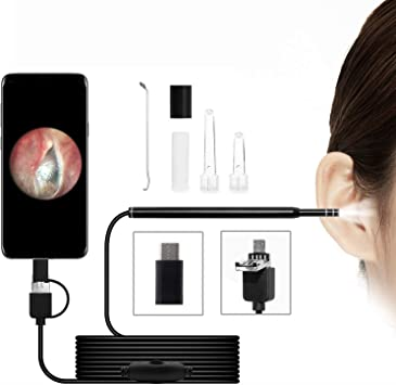 Otoscope USB Ear Camera 6 Adjustable LED Lights with Ear Wax Removal Tools Coligbat New Upgraded 4.3mm HD Inspection Camera Ear Endoscope Compatible with Android and PC