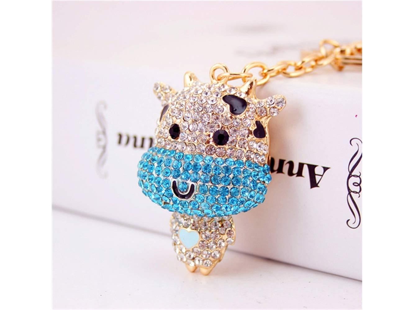 Car Keychain, Diamond Chinese Zodiac Cattle Keychain Animal Shape Key Trinket Car Bag Key Holder Decorations(Blue) for Gift