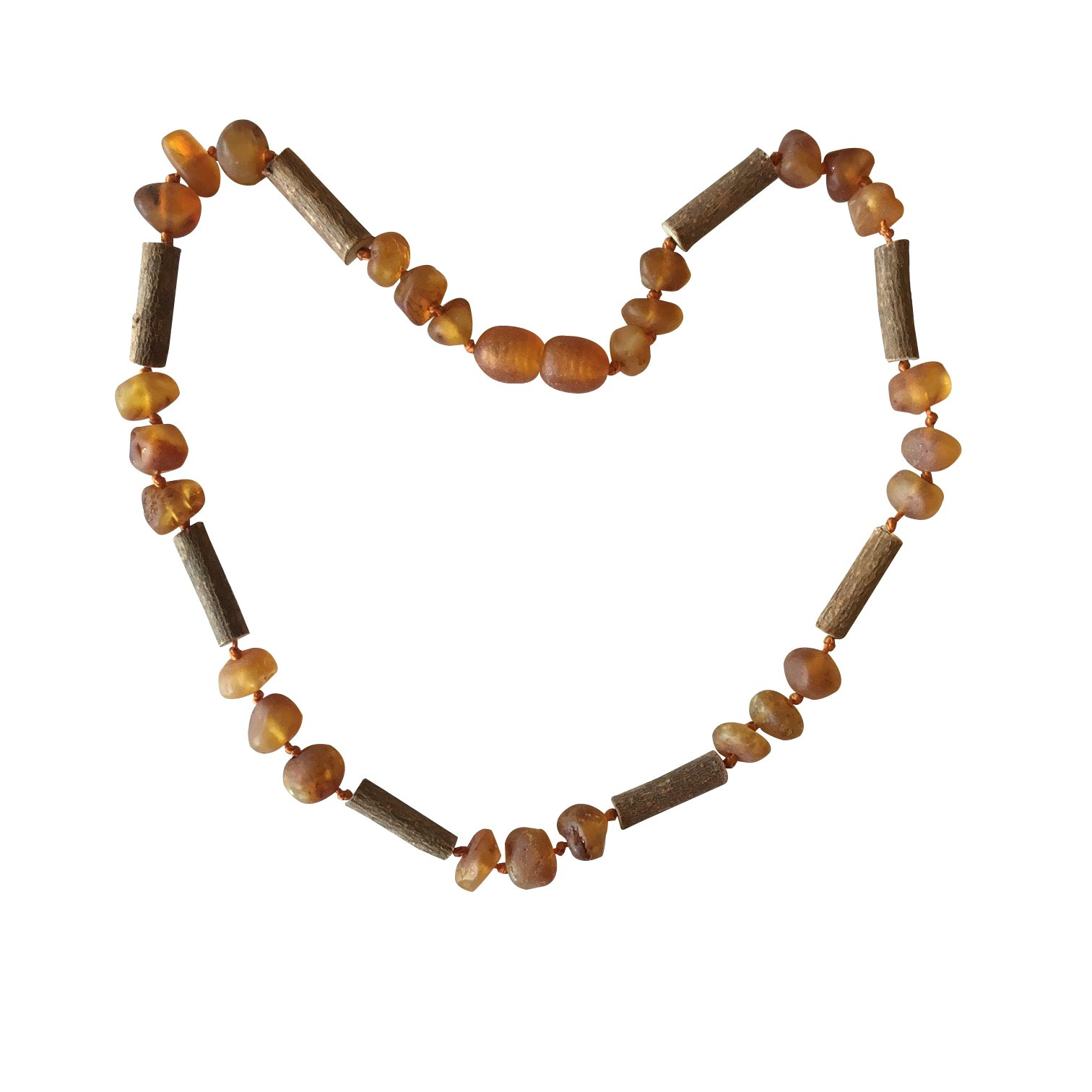 Baltic Amber and Hazelwood Necklace. Colic, Reflux and Teething. Individually Knotted. for Babies and Toddlers. (Raw Cognac/Hazelwood)