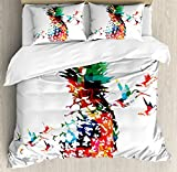 Ambesonne Pineapple Duvet Cover Set Queen Size by, Geometric Pineapple Bursting into Scattering Birds Flight Modern Abstract Print, Decorative 3 Piece Bedding Set with 2 Pillow Shams, Multicolor