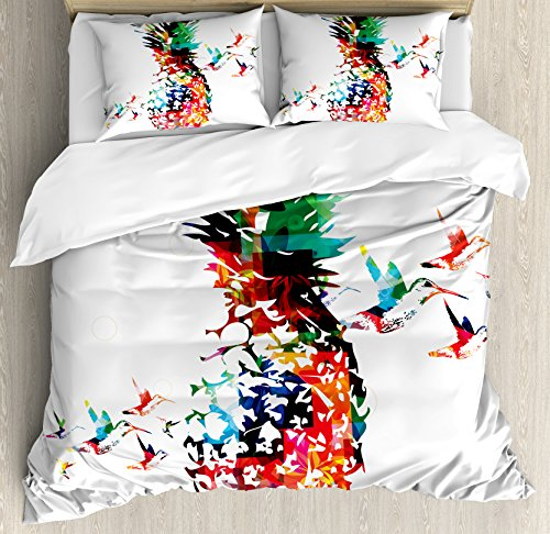 (Ambesonne Pineapple Duvet Cover Set King Size, Geometric Pineapple Bursting into Scattering Birds On Flight Modern Style Abstract Print, Decorative 3 Piece Bedding Set with 2 Pillow Shams, Multicolor)