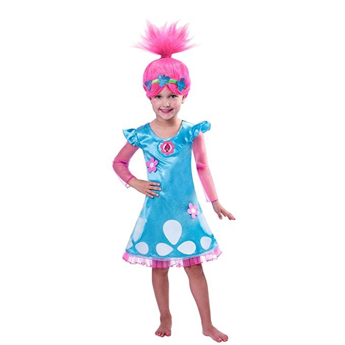 Halloween Outfits For Kids.Greatchildren Trolls Costume Cosplay Halloween Clothes Kids Fancy Girl Dress Wig