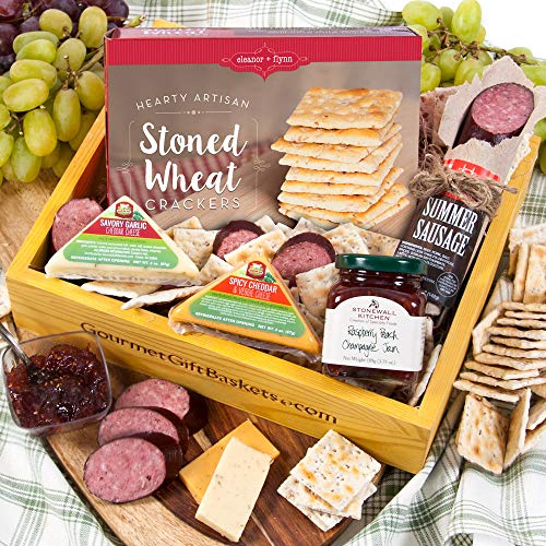 GourmetGiftBaskets.com Holiday Meat and Cheese Gift Basket Crate - Gourmet Food Gift Baskets Prime Delivery - Birthday, Christmas, Sympathy, Men, Women, Families & ()