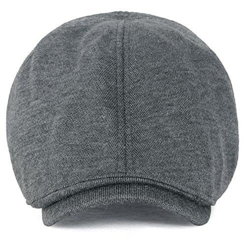 ililily Soft cotton Newsboy Flat Cap ivy stretch Driver Hunting Hat (XL-Dark Grey) ()