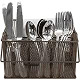 Sorbus Utensil Caddy — Silverware, Napkin Holder, and Condiment Organizer — Multi-Purpose Steel Mesh Caddy—Ideal for Kitchen, Dining, Entertaining, Tailgating, Picnics, and much more (Bronze)