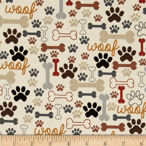 Timeless Treasures Dog Bones & Paw Prints Cream Fabric by The Yard