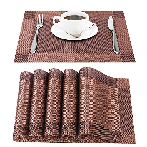 Raffaelo Placemats, Table Mat Non Slip Place Mat PVC Table Mats for Table, Dining, Kitchen and Reataurant – Set of 6 PCS (Brown)