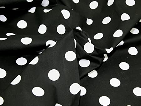 45 quot  wide Spotty Polycotton Dress Fabric Black White Spots - per metre d1c0e7461