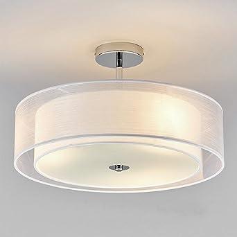LED Deckenleuchte Modern Runde Design Deckenlampe Wohnzimmer Esszimmer Schlafzimmer Kche Flur Lampe Beleuchtung Leuchte Weiss Textil