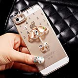 iPhone 5C Case,HAOTP(TM) 3D Handmade Bling Crystal with Shiny Sparkle Rhinestone Diamonds Design Clear Soft TPU Cover Case for iPhone 5C (Lovely Umbrella)