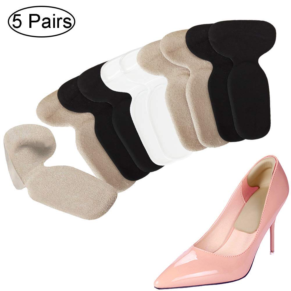 Heel Cushion Inserts - Heel Grips & Shoe Pads for Women - Non Slip Gel Back of Heel Liners, Blister Prevention and Protectors for Womens Loose Shoes and High Heels Too Big (10 Pcs) (Mix)