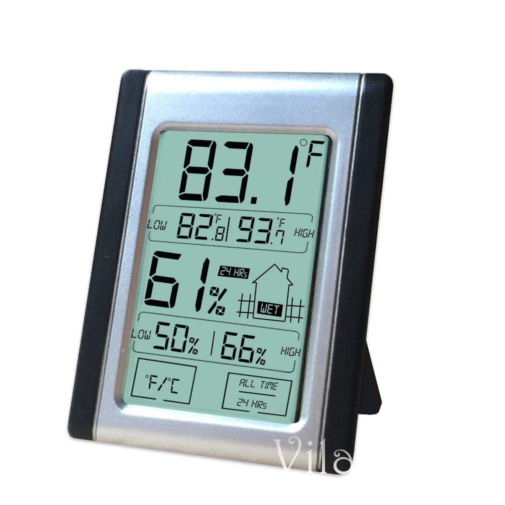 VILA Digital Thermometer and Hygrometer, Indoor Humidity and Temperature Monitor with Battery, Bright LCD Display for Quick Reading, Multiple Mounting Options, Touch Screen