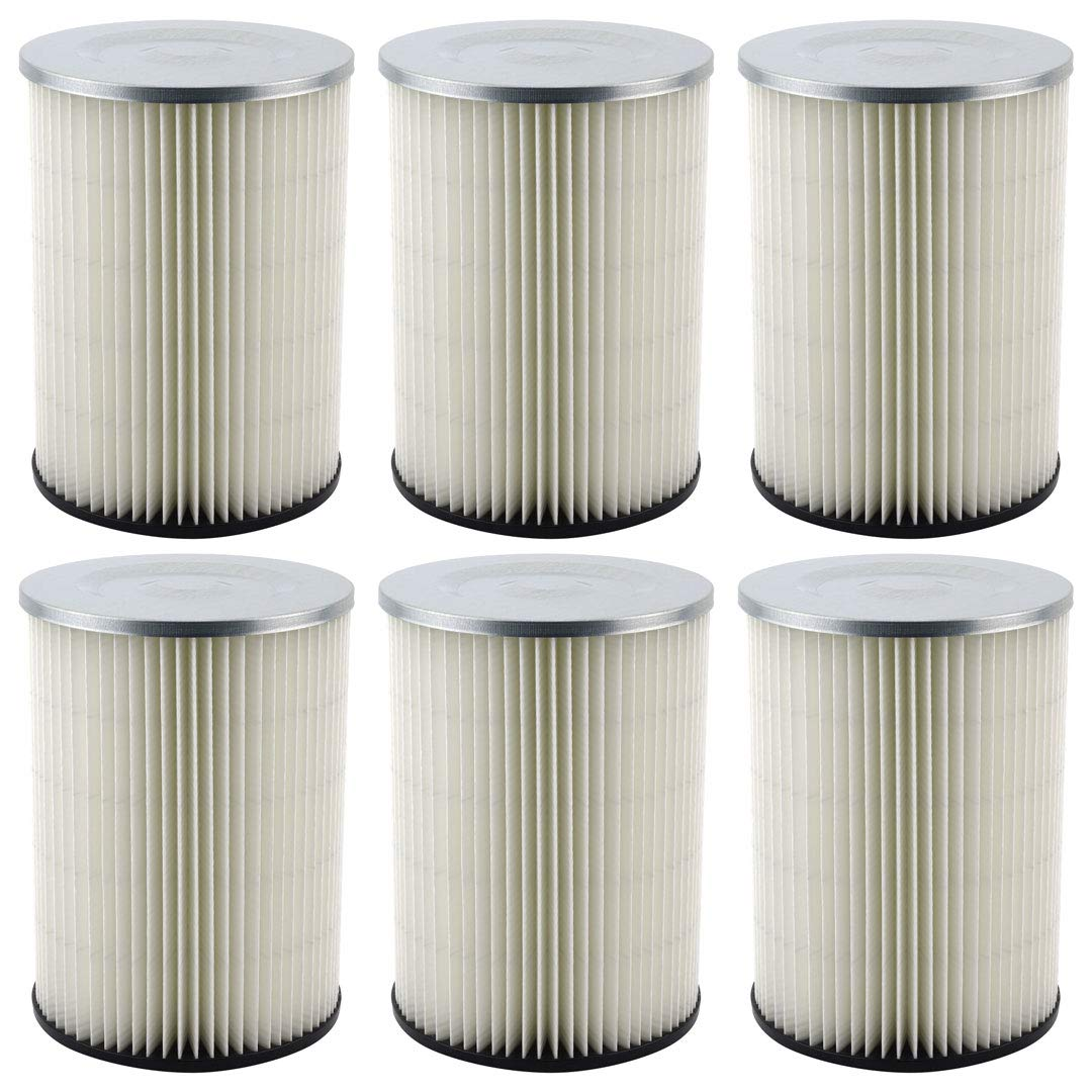 6 Pack Felji Replacement Cartridge Filters for Shop Vac 90328 9032800 903-28 903-28-00 fits Craftsman and Ridgid Brand Vacuums by Felji