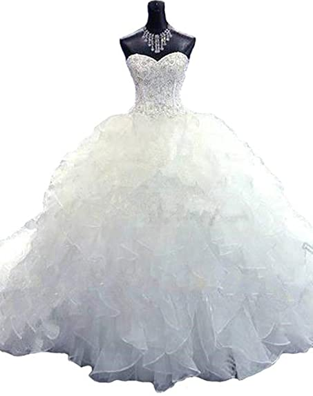 Siaoryne Sweetheart Wedding Dress Ruffle Organza Vestido De Novias Ball Gown Ivory 2