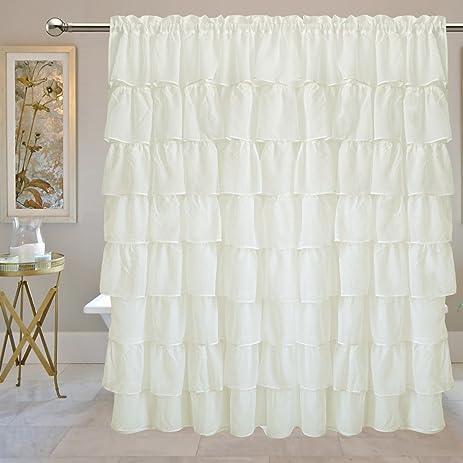 Amazon.com: Just-Enjoy Lace Gypsy Ruffle Curtains Off White Semi ...