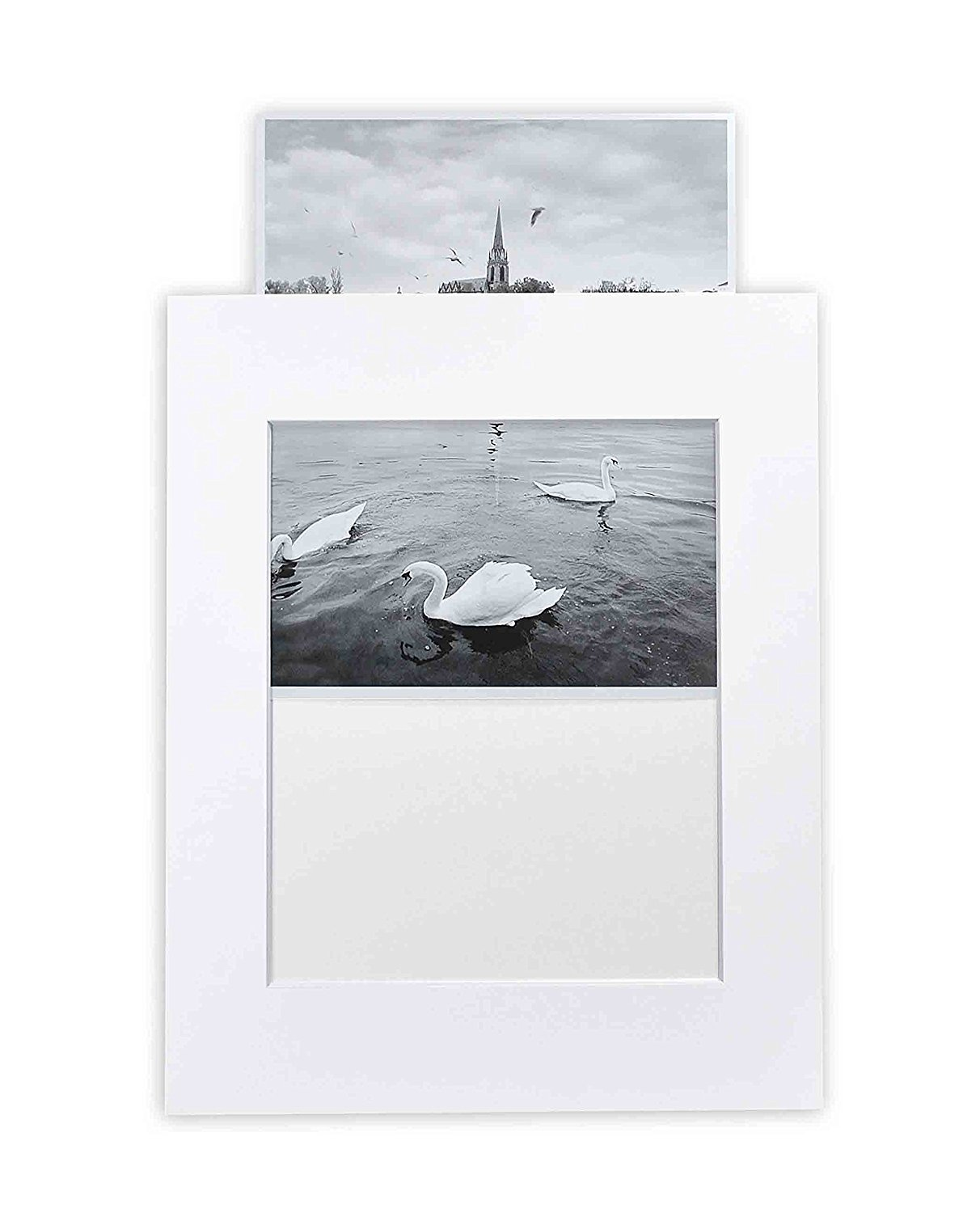Golden State Art, Acid-Free Cardboard Frames,Pack of 10 White 11x14 Slip in Mats for 8x10 Photo Pre-Adhesive with Backing Board,Paper Frames for Picture Holder,Includes 10 Clear Bags by Golden State Art