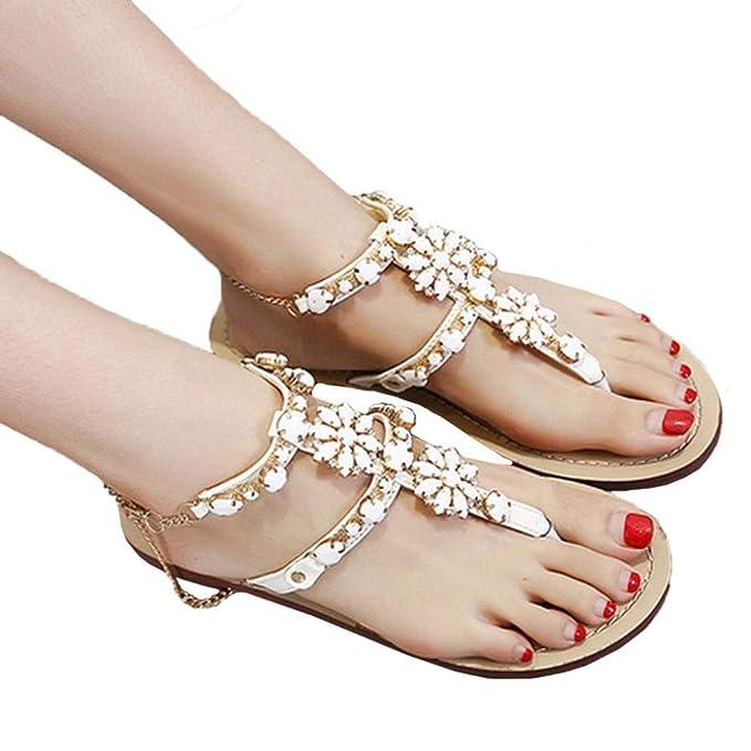 fcb10086 Women Girls Fashion Sweet Bohemia Beaded Crystal T-Strap Chain Flat Sandals  Comfort Summer Herringbone