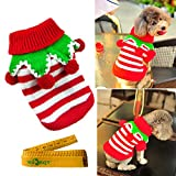 Christmas Turtleneck Knitted Pet Dog Cat Sweater Knitwear Outerwear with Collar and Balls for Dogs & Cats (Red & White Stripes, XS) For Sale