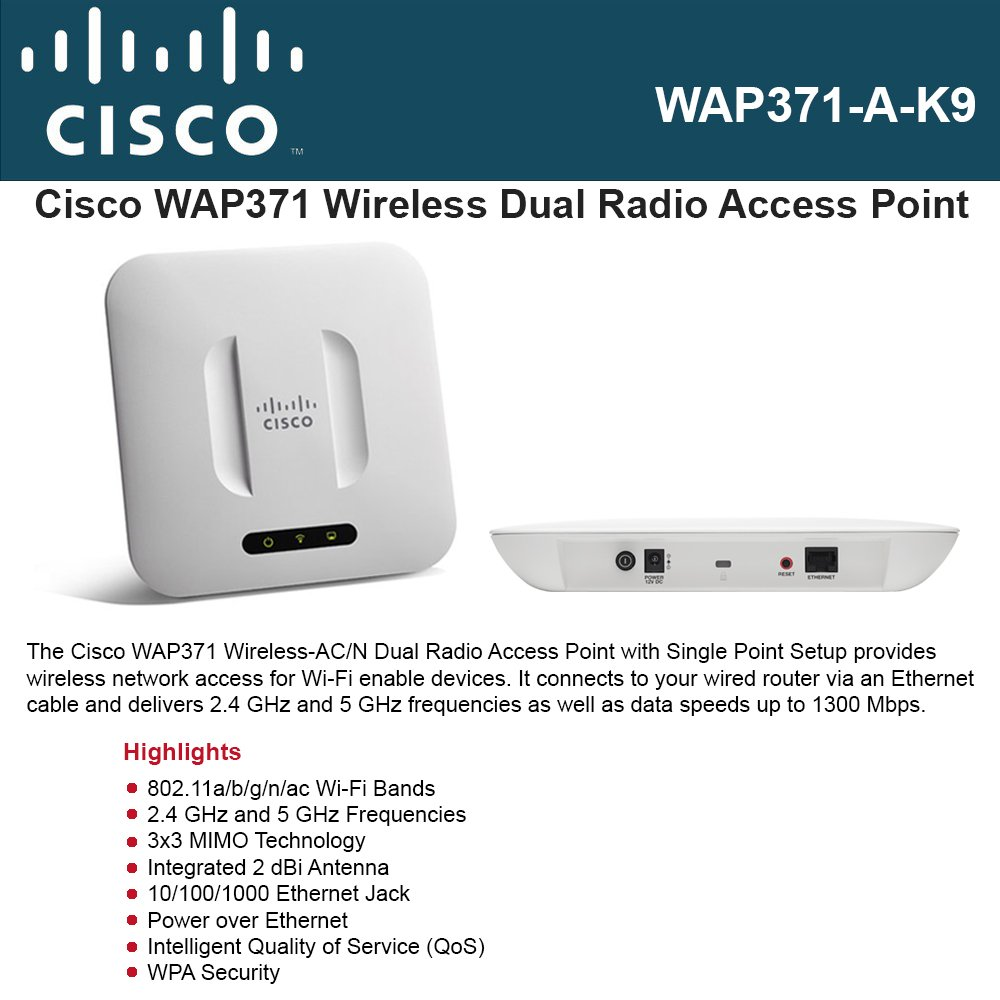 Cisco Small Business WAP371-A-K9 Wireless-AC/N Dual Radio Access Point with Single Point Setup