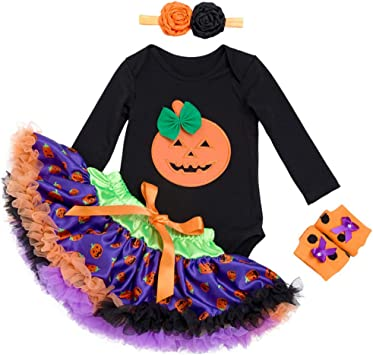 Bebé Niña Halloween Conjunto de Ropa, Body de calabaza + Falda de ...