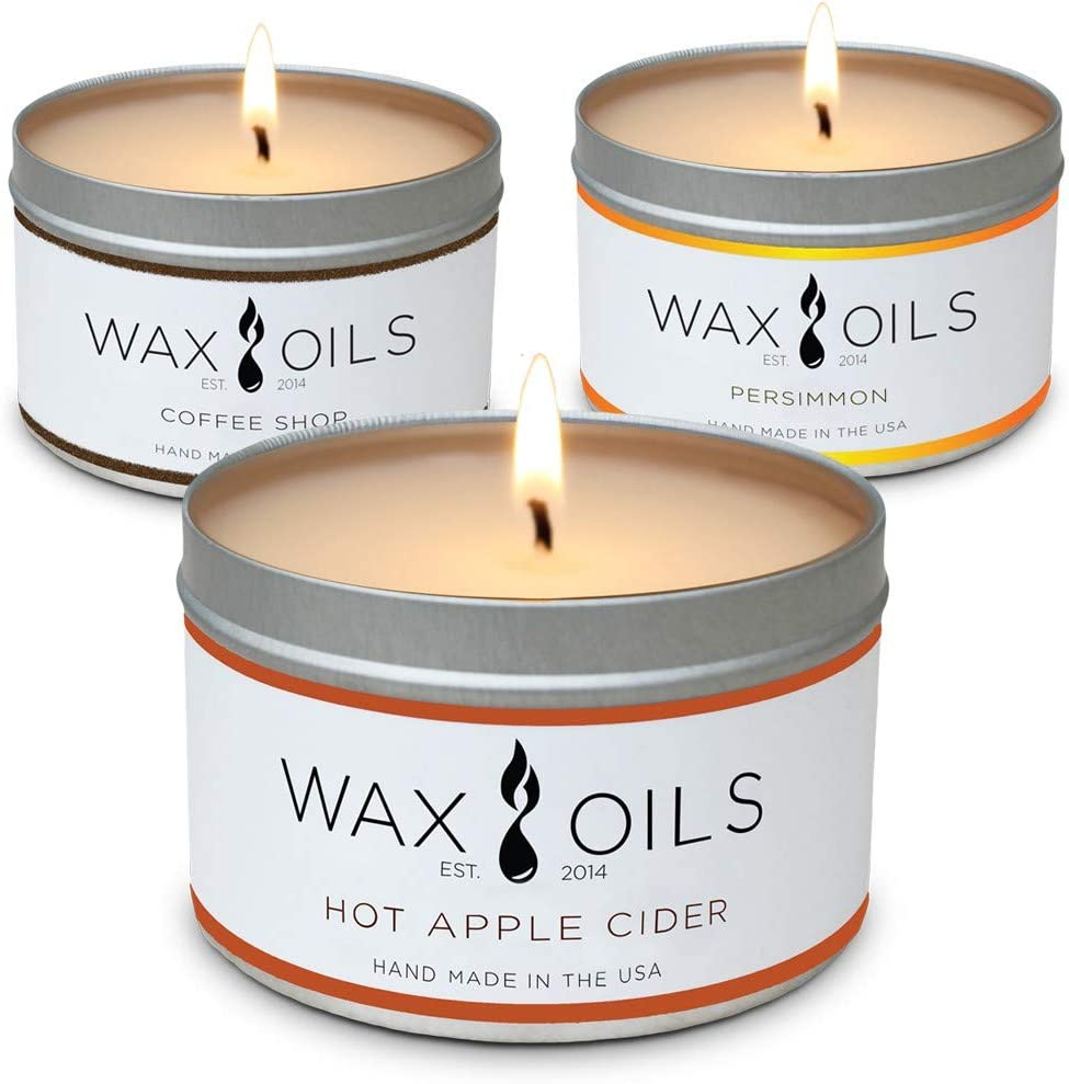 8oz Sandalwood /& Peppermint Eucalyptus Scented Candles Soy Aromatherapy Pack of 3 Lavender
