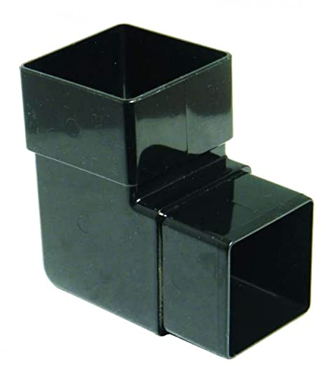Black FLOPLAST 65mm Square Downpipe 92.5 Degree Offset Bend Pack of 2