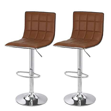 Awe Inspiring Elegan Hydraulic Adjustable Height Bar Stools Stool Chairs Chrome Finished Base Set Of Two Brown Machost Co Dining Chair Design Ideas Machostcouk