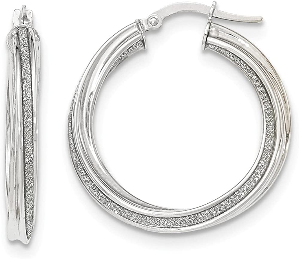 Mia Diamonds 14k White Gold Polished 3mm Twisted Hoop Earrings
