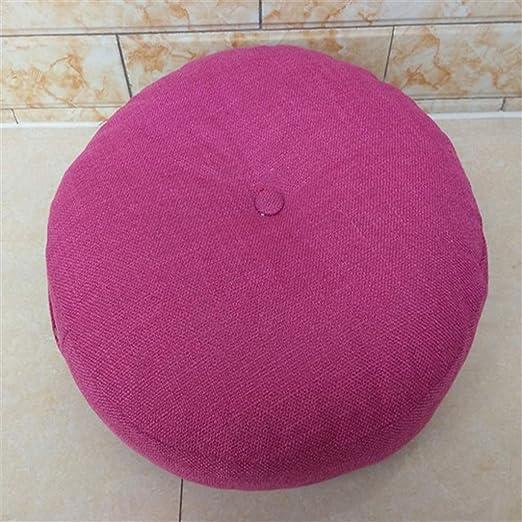 YYRZGW Cojín redondo de lino de color sólido para piso de ...
