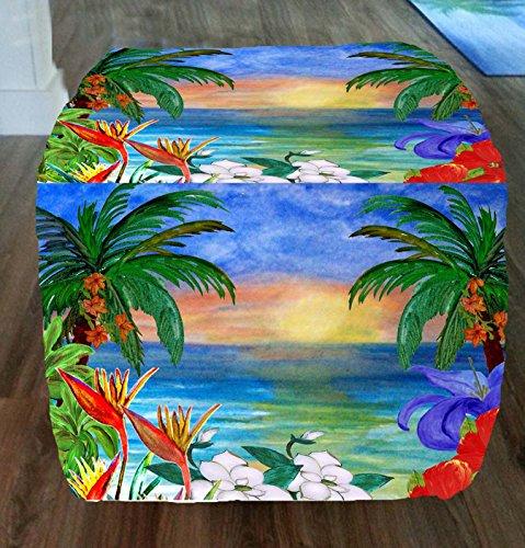 Floral-Ocean-Sunset-Tropical-Beach-Coastal-Ottomans-From-My-Art