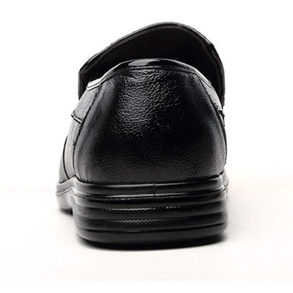 XYCSZQ Männer, Lederschuhe, Gummi, Business Casual, Faule Schuhe, Gummi, Lederschuhe, Komfort, Broch, Geschnitzt, Atmungsaktiv schwarz 543455