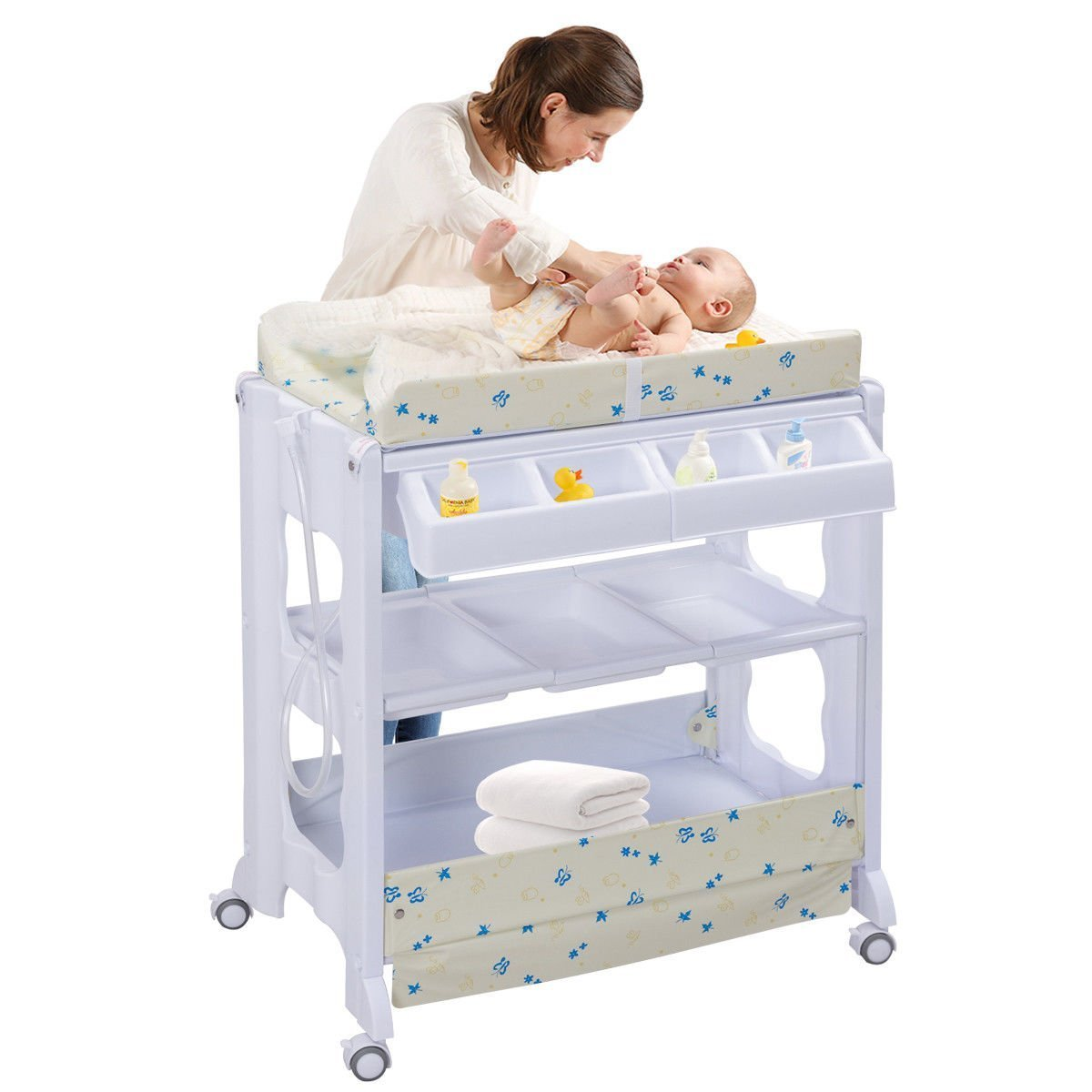 Costzon Baby Bath and Changing Table, Diaper Organizer for Infant with Tube & Cushion (Beige) by Costzon (Image #4)