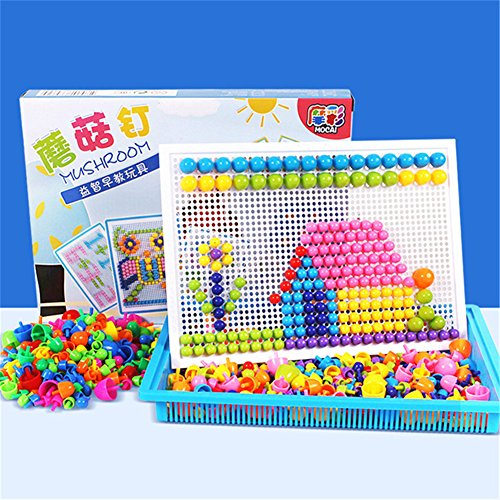 GZQ 295 Pcs Jigsaw Toy Mushroom Nails Mosaic Puzzles Board Fun Pile Up Educational Learning Toys for Boys Kids Girls Toddlers Party Favors Christmas Gift by GZQ