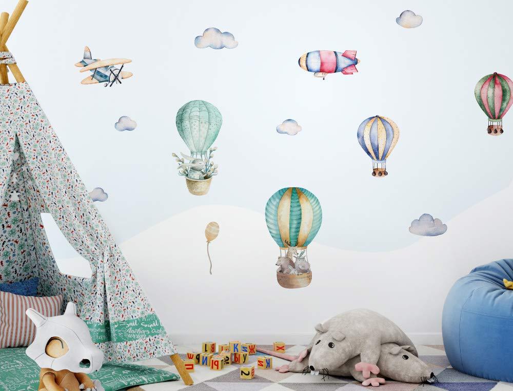 Wandtattoo Kinderzimmer Deko Aquarell Wandtattoo Hei/ßluftballon Tiere Wolken