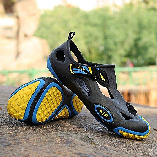 Herren Closed Toe Strand Wasser Schuhe Seitliche Klettverschluss EVA Garten Loch Jelly Clogs Sandalen Schwarz Gelb