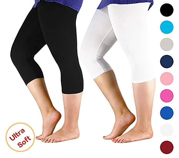 af18fe8b99d594 Century Star Women's 3/4 Length Smooth Stretchy Short Pants Plus Size  Elastic Waist Sport