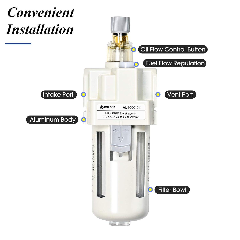 Tailonz Pneumatic 1//2 Inch NPT Pneumatic Oil Lubricator Air Source Treatment Lubricator air Lubricator AL4000-04