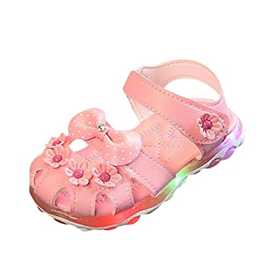 4c11bb85a Longra for 1-6 Years Old Girls Shoes, Baby Kids Cute Led Light Flower  Bowknot Non-Slip Princess Sneaker Toddler Summer Princess Sandals:  Amazon.co.uk: Shoes ...