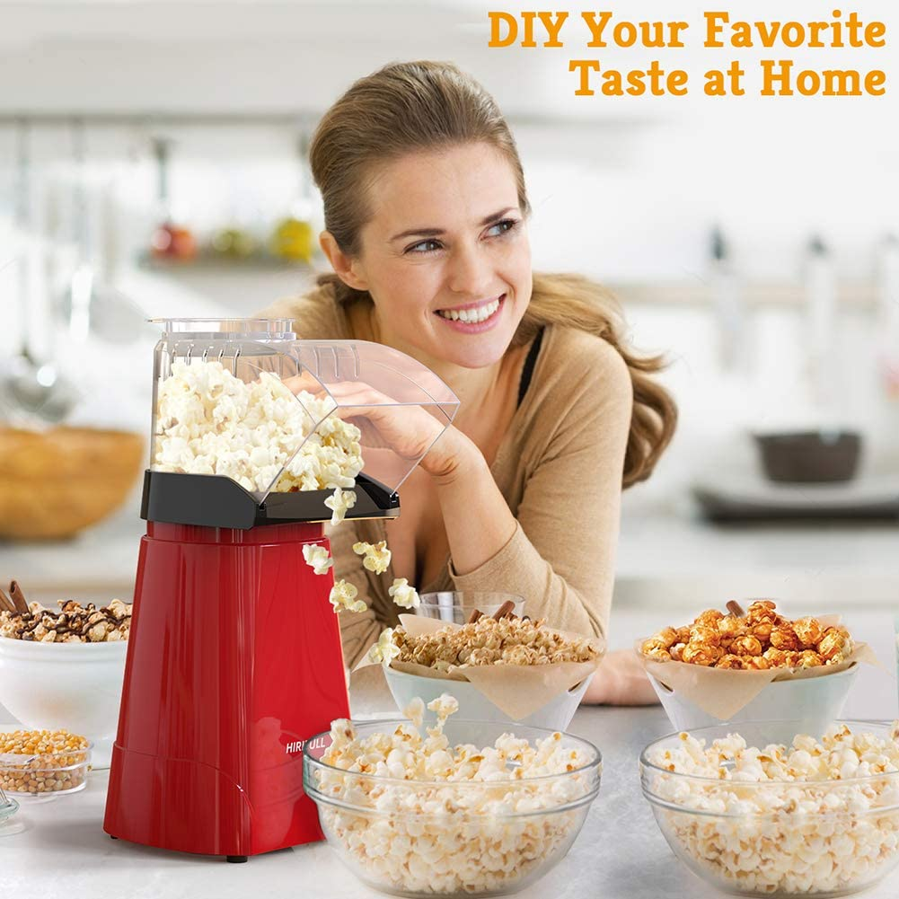 No Oil with Measuring Cup and Removable Lid Great for Family Parties and Movies Night Red 1200W Electric Popcorn Maker HIRIFULL Hot Air Popcorn Popper Household Popcorn Machine for Healthy Snacks