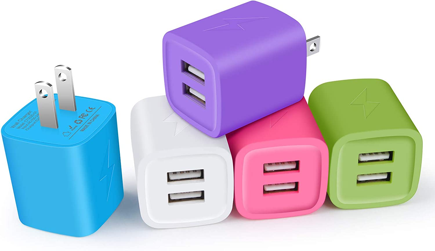 Fast Charging Block, Charger Plug for iPhone, Cube Charger, NonoUV 5Pack 2.1A Dual Port USB Wall Adapter Power Bricks Box for for iPhone SE 11 Pro XR XS X 8 7 6 6s Plus, iPad, Samsung Galaxy S20 S10