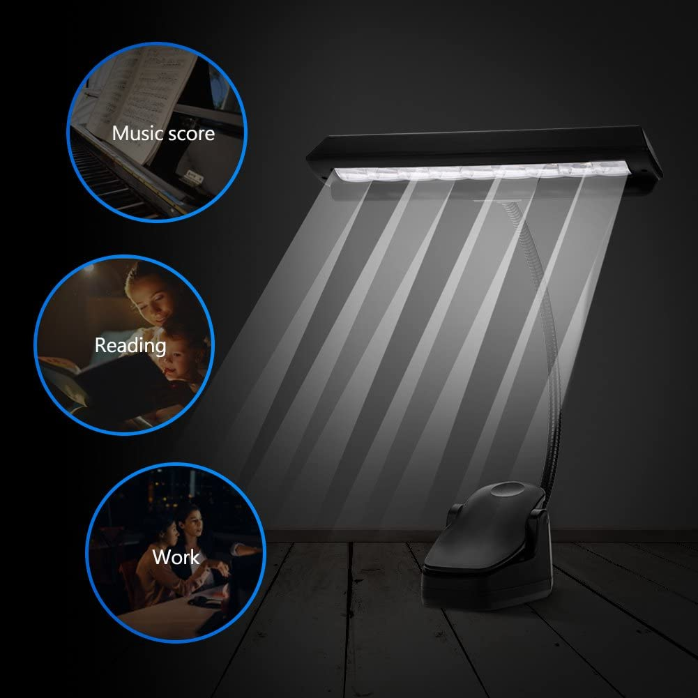 Alomejor Clip-on Light LED Rechargeable Music Stand Light Book Reading Light Clip on Book /& Bed Headboard